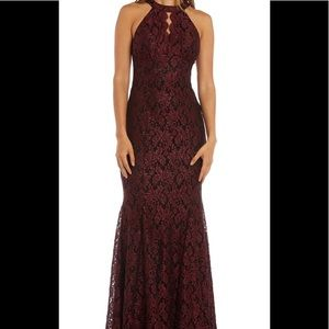 Formal Party dress burgundy red lace sleeveless
